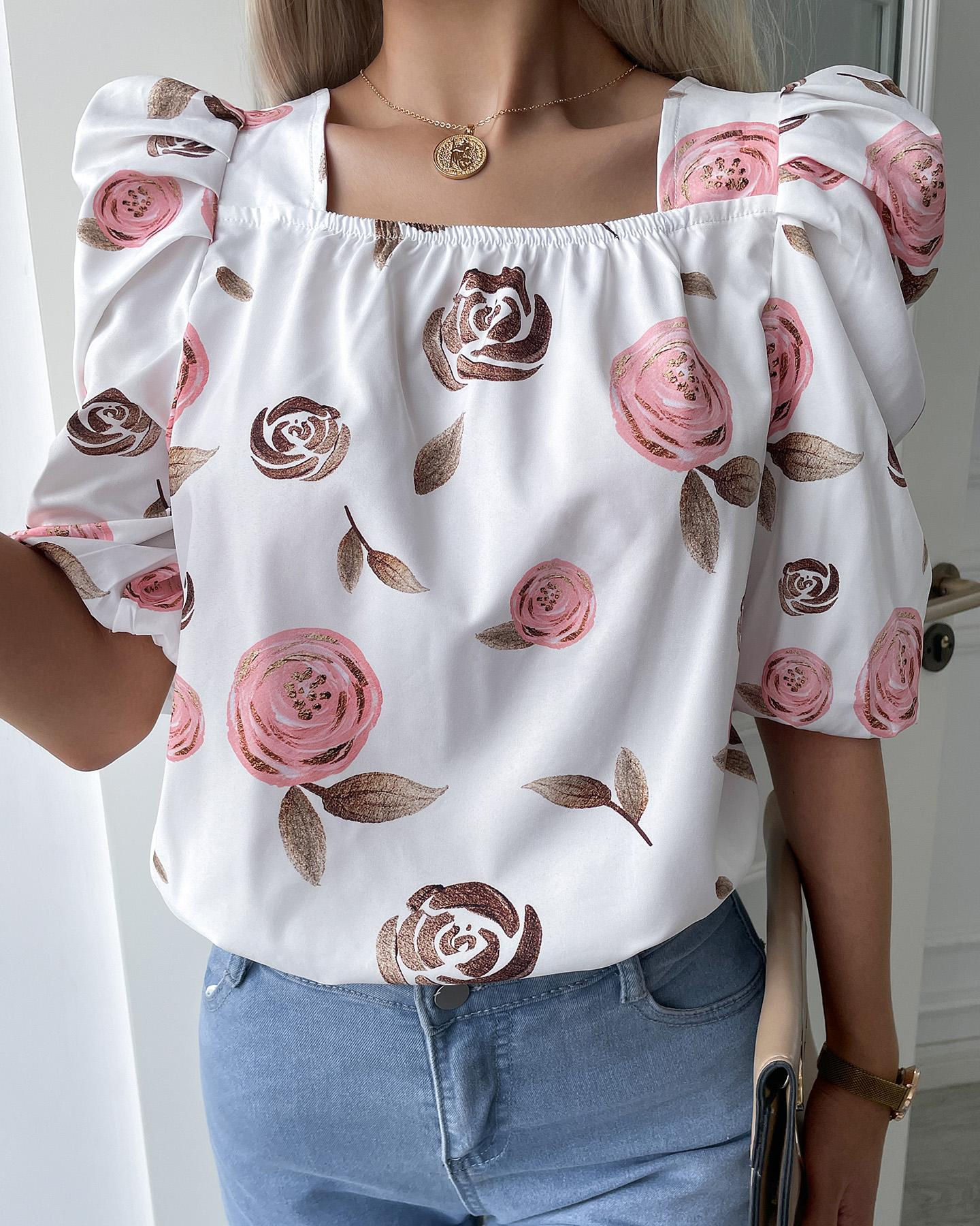 Floral Print Puff Sleeve Tie Back Blouse