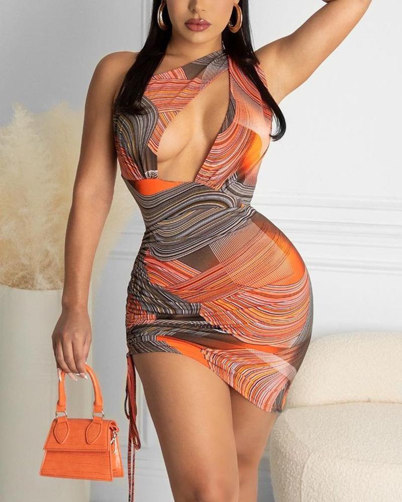 Slash Neck Open Front Graphic Print Bodycon Dress