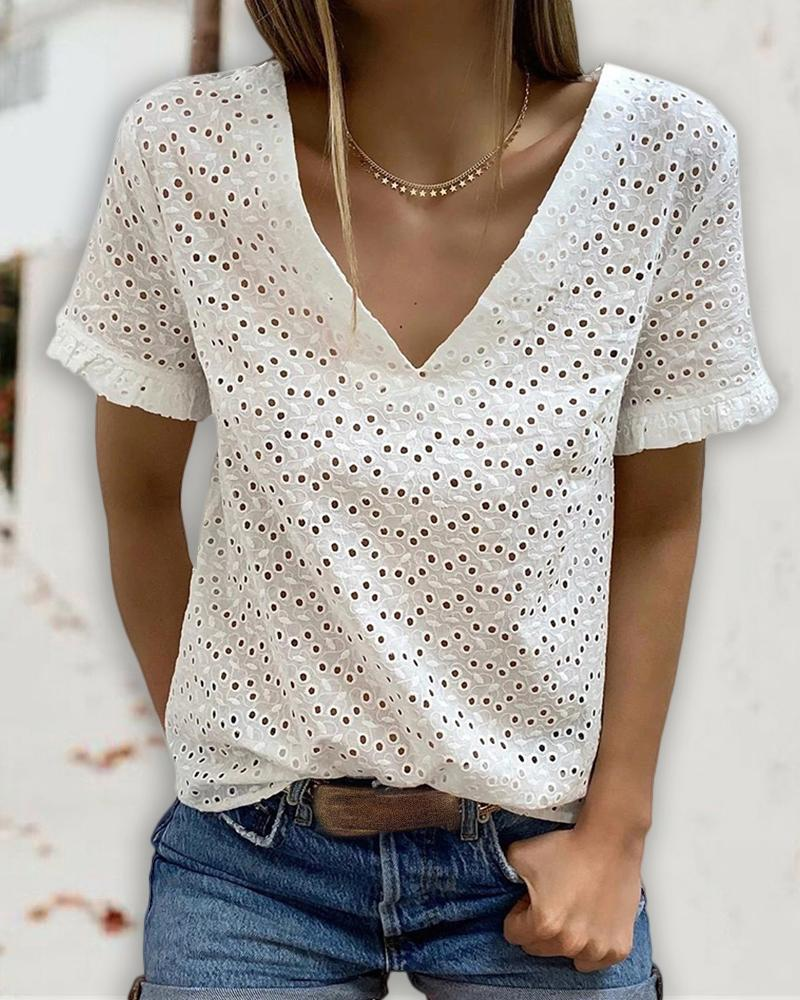 Eyelet Embroidery Backless Tied Detail T-shirt