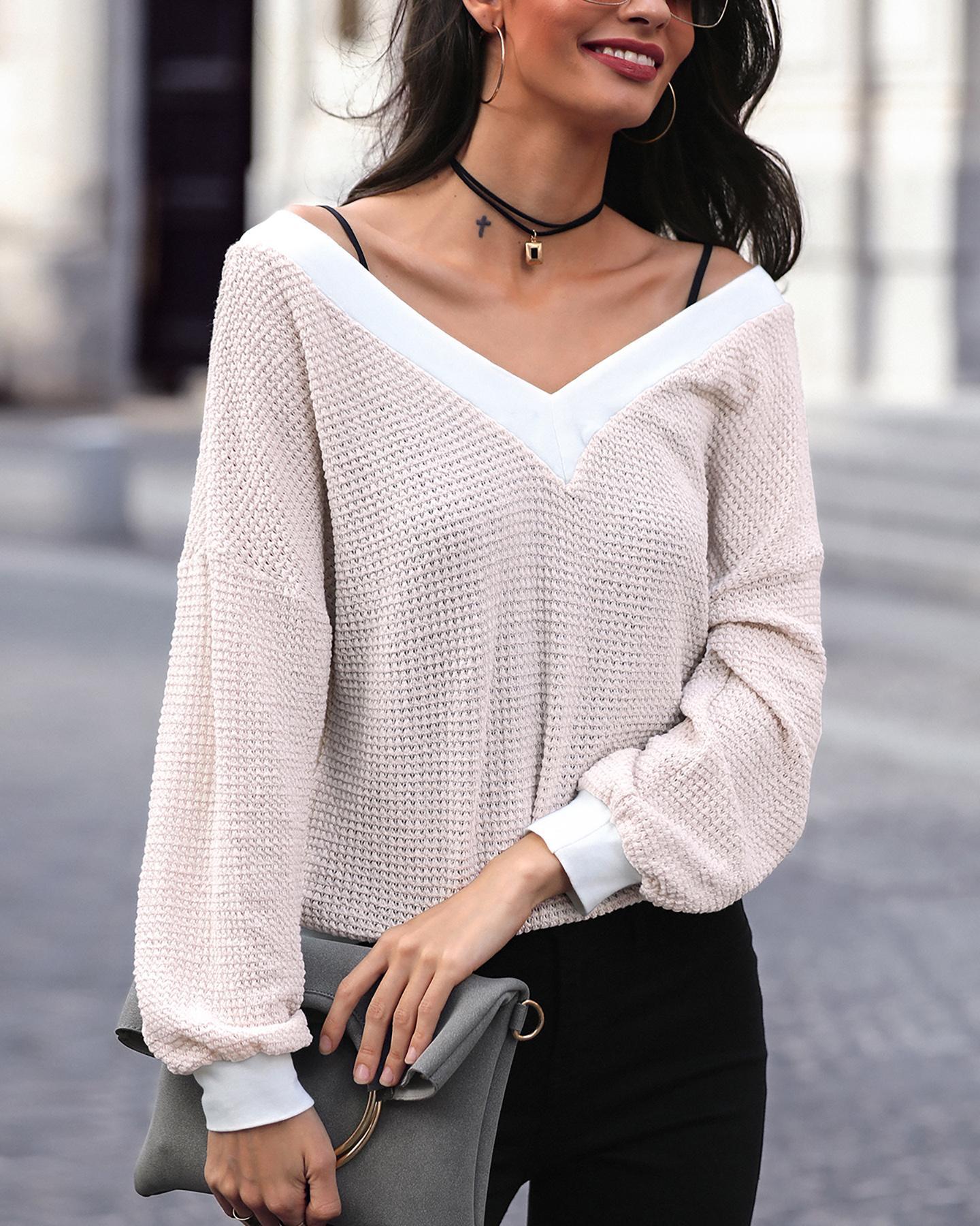 V Neck Long Sleeve Pointelle Casual Sweatshirt