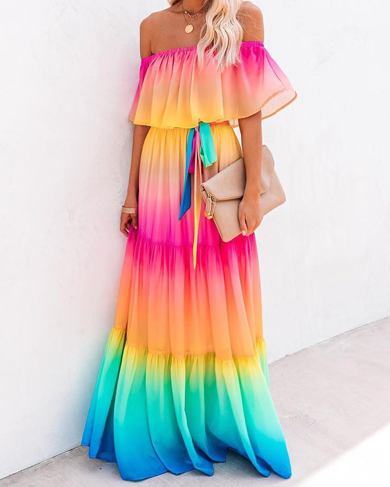 Off Shoulder Gradient Color Ruffles Maxi Dress