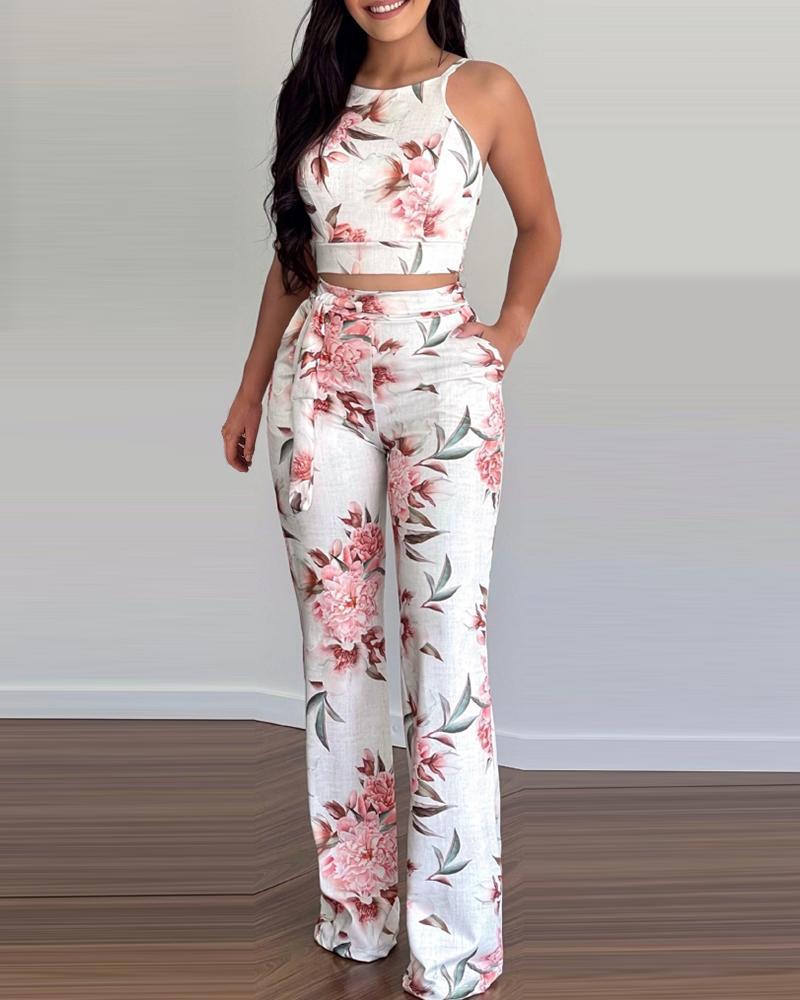 Floral Print Sleeveless Top & Pants Set