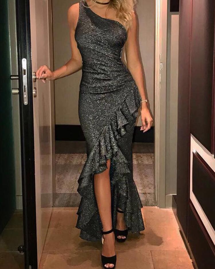 Glitterring Asymmetric Shoulder Ruffles Hem Maxi Dress