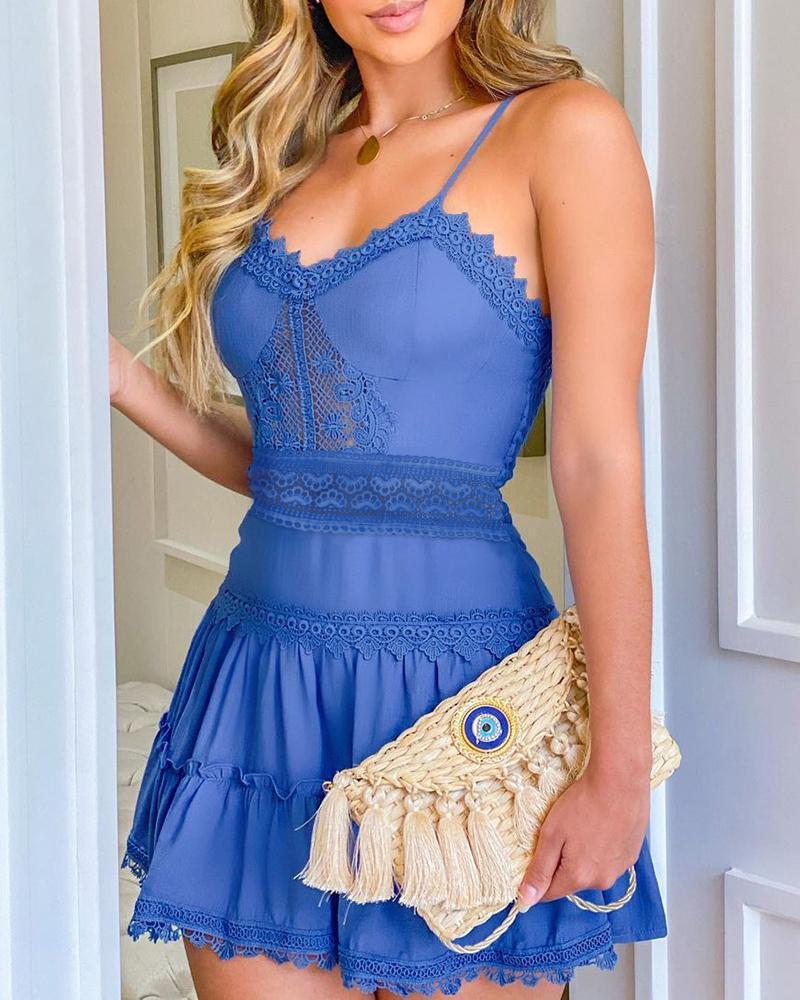 Guipure Lace Frill Hem Casual Dress thumbnail