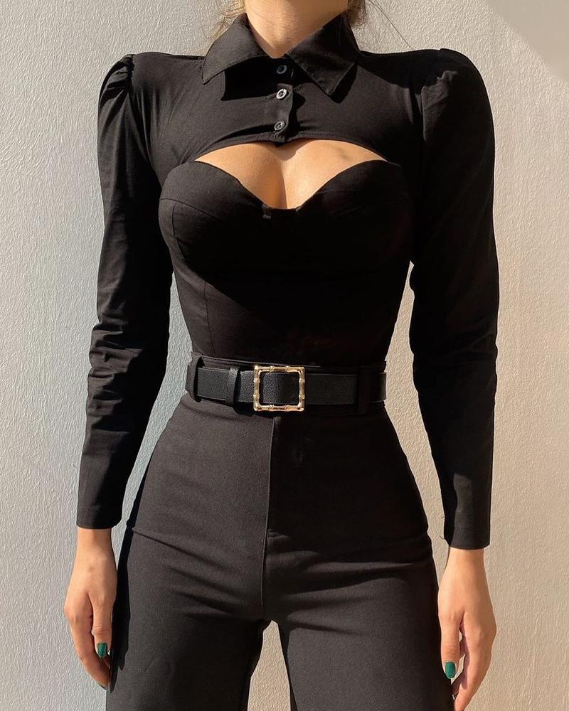 Puff Sleeve Button Design Cutout Skinny Top, Black