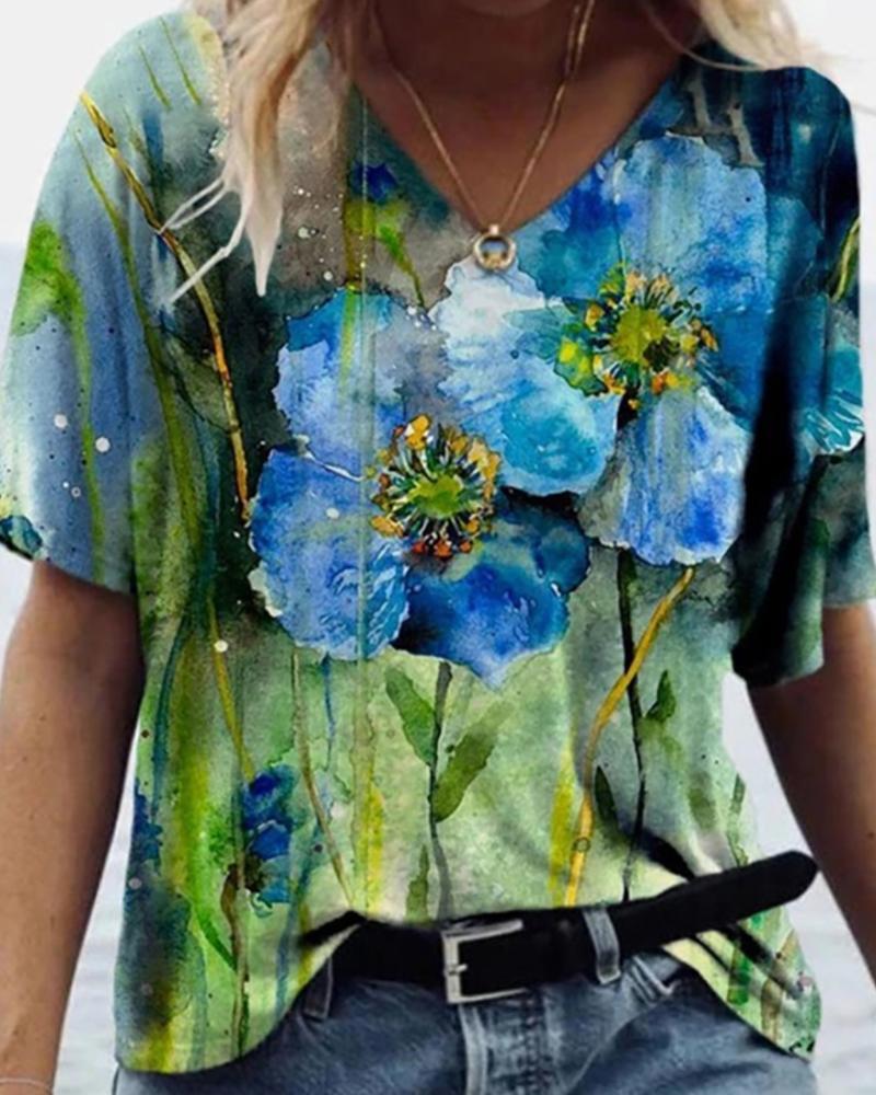 Floral Print Short Sleeve V Neck T-Shirt