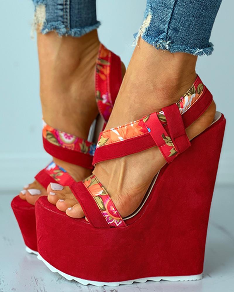 Floral Print Colorblock Slingback Wedge Sandals