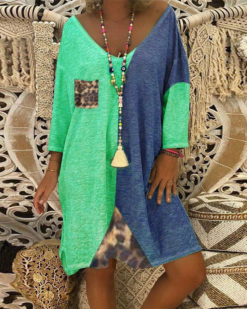 Colorblock Loose Casual Dress