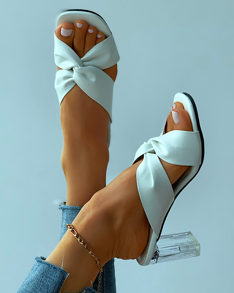 Twisted Cutout Square Toe Clear Chunky Heels