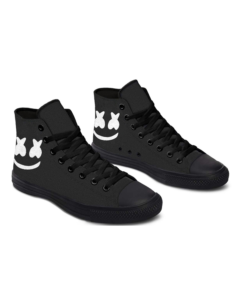 Womens Smile Print Lace-up High Top Canvas Casual Shoes, Black
