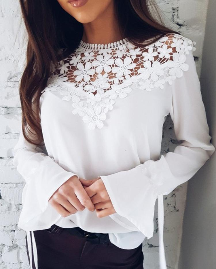 ChicMe coupon: Sexy Flare Sleeve Lace Patchwork Blouse