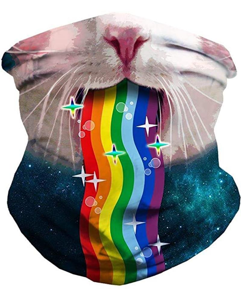 Cat & Rainbow Print Breathable FaceBandana Magic Scarf Headwrap Balaclava