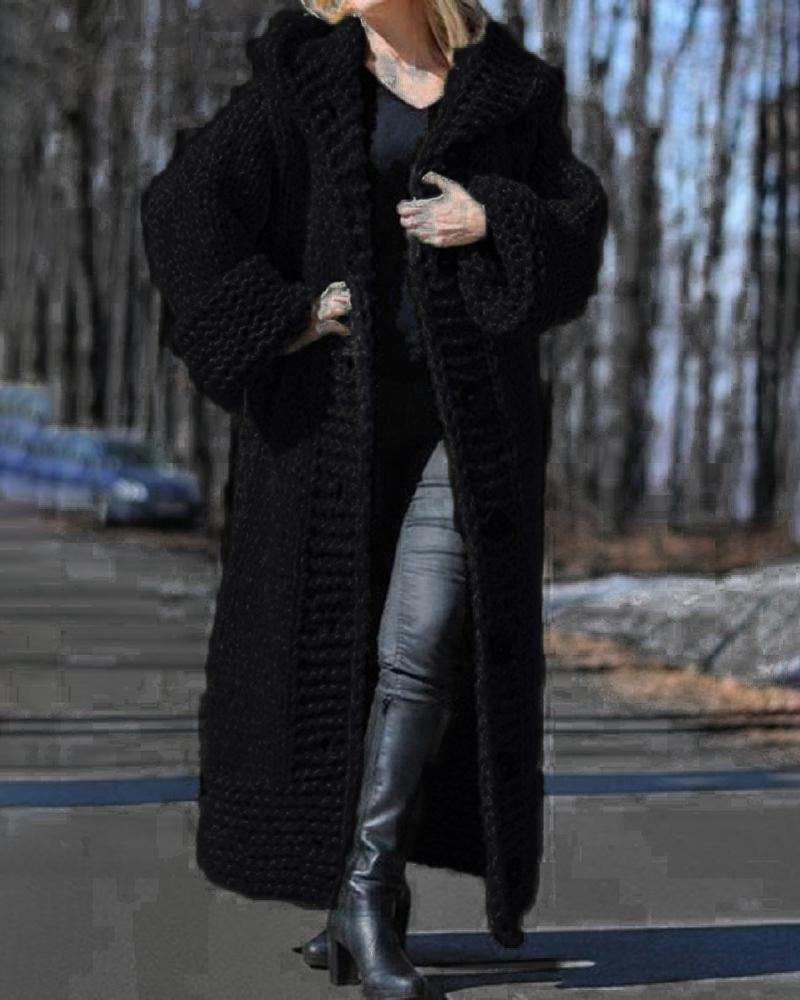 Long Sleeve Button Design Hooded Knit Cardigan
