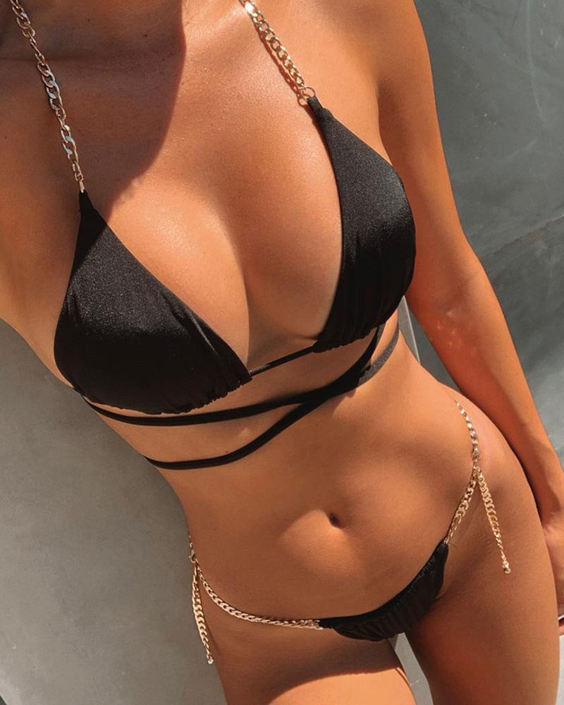 Ivrose coupon: Solid Chain Halter Bra With Panties Bikini Sets