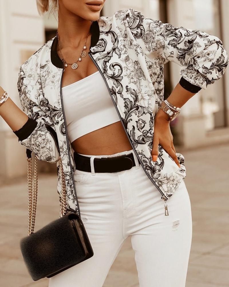 Baroque Print Long Sleeve Zipper Design Jacket