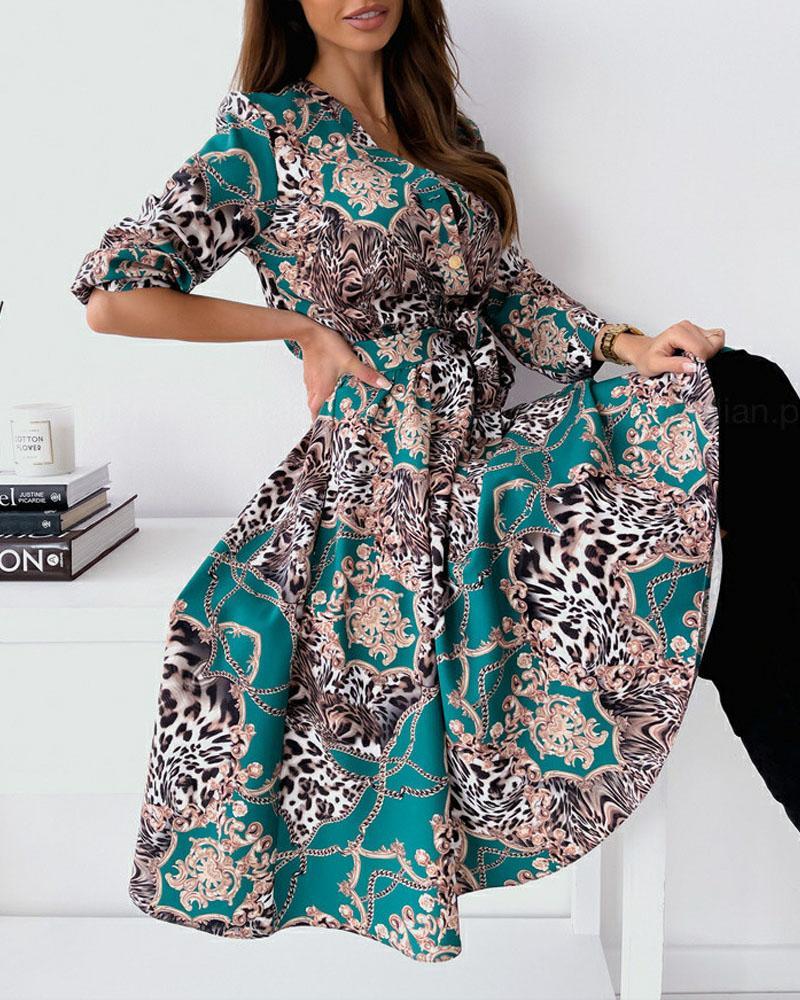 Baroque Leopard Print Button Front Long Sleeve Dress