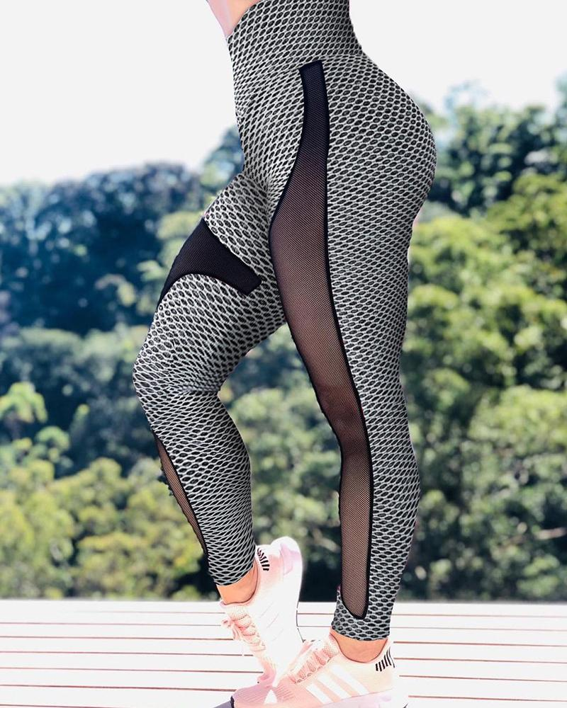 Hollow Out Sheer Mesh High Waisted Butt Lifting Yoga Pants