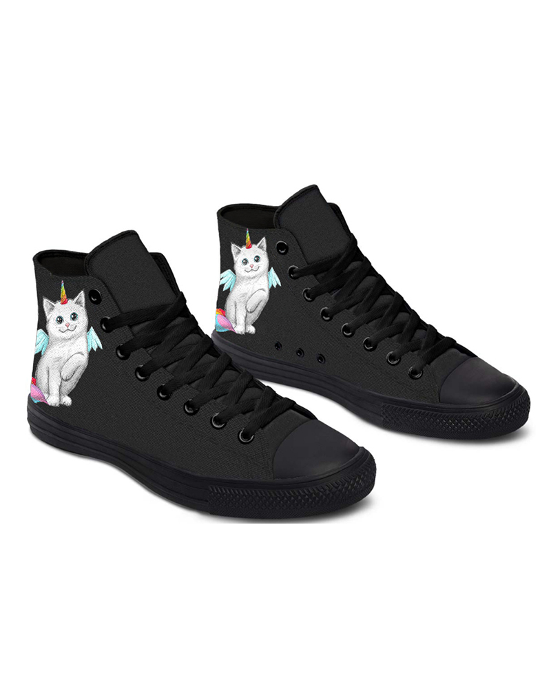 Womens Cat Unicorn Round Toe Lace-up High Top Canvas Casual Shoes, Black