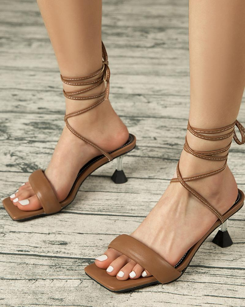 Square-toe Solid Color Lace-up Heel Sandals