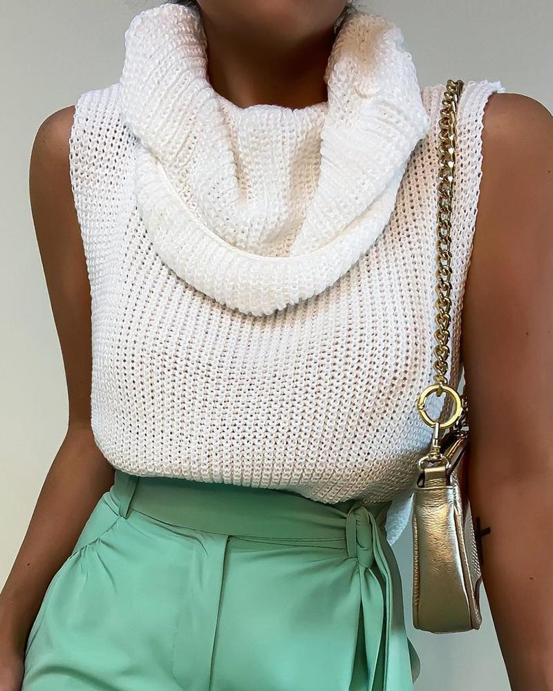 Knit Sleeveless Heaps Collar Casual Sweater