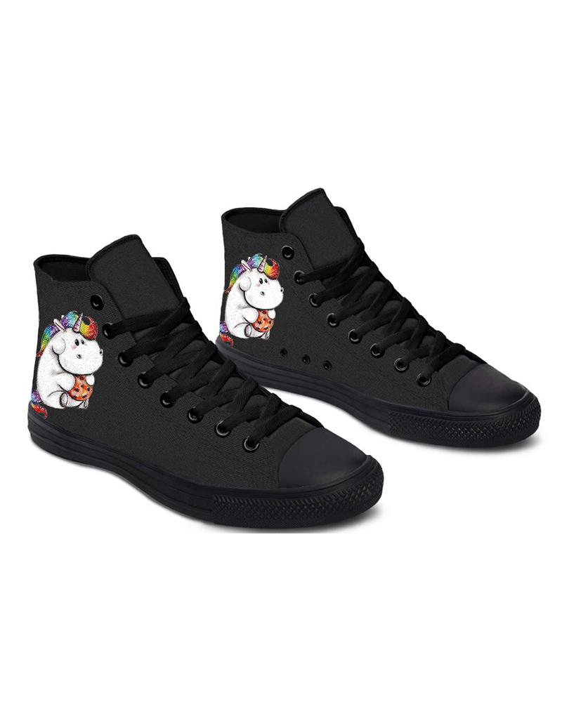 Womens Hippo Unicorn Print Lace-up High Top Canvas Casual Shoes, Black