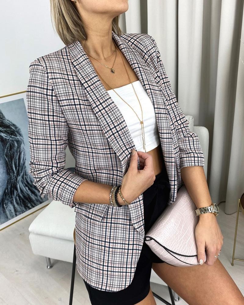 Long Sleeve Plaid Print Pocket Decor Blazer Coat