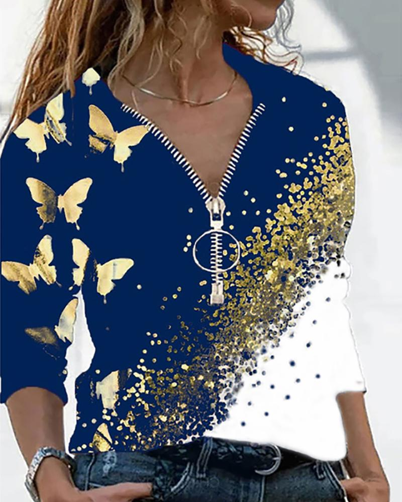 Butterfly Print Colorblock Zip Front Top thumbnail