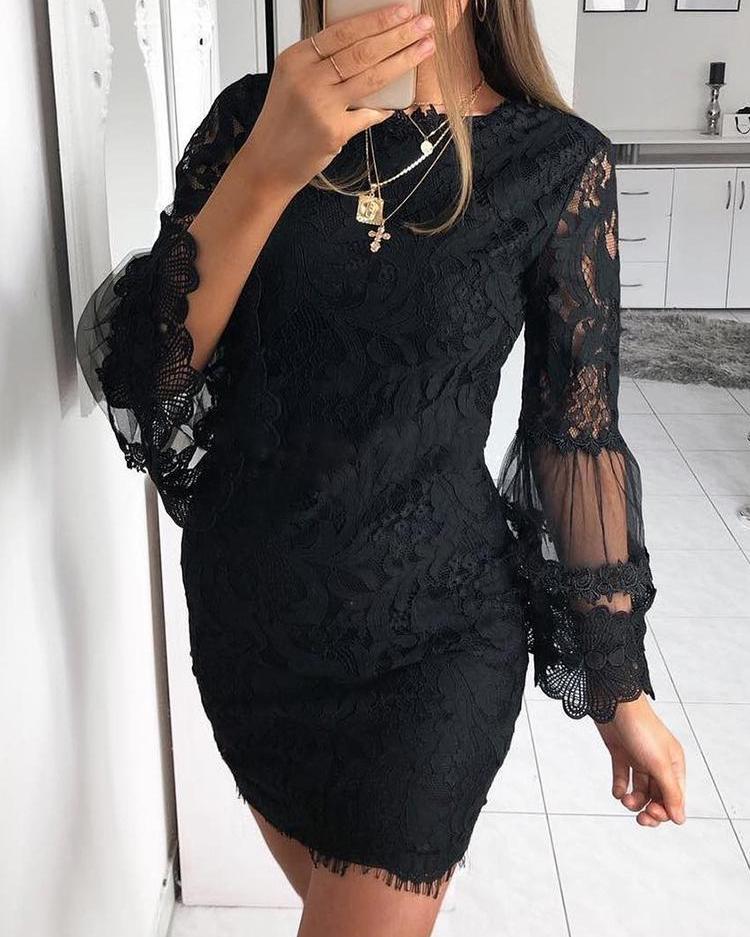 Joyshoetique coupon: Guipure Lace Mesh Splicing Sheath Dress