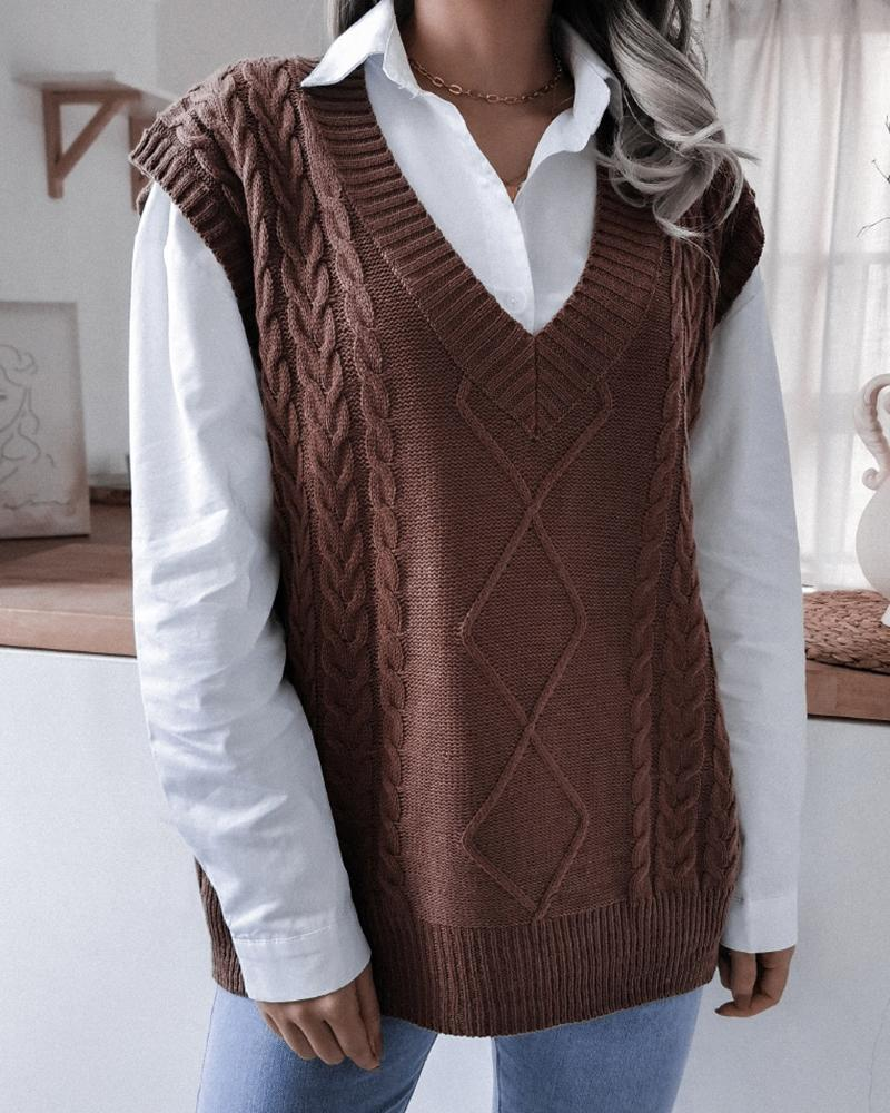 V-Neck Cable Knit Sweater Vest, ivrose, coffee  - buy with discount