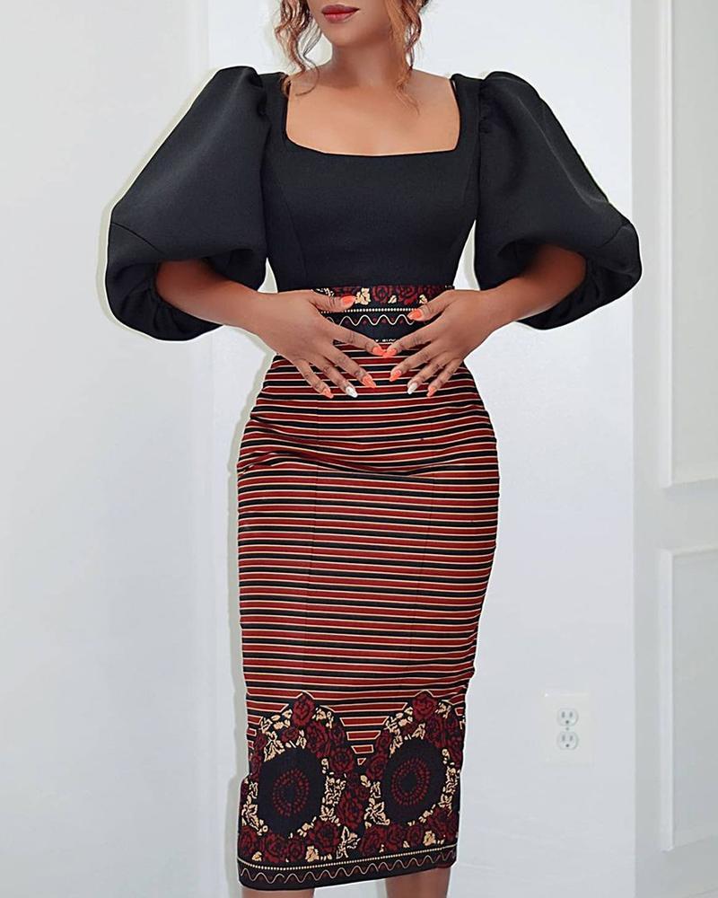 Floral Print Striped Puff Sleeve Zipper Design Dress