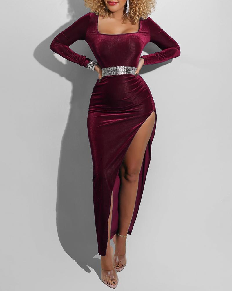 Velvet Long Sleeve High Slit Evening Dress Without Belt