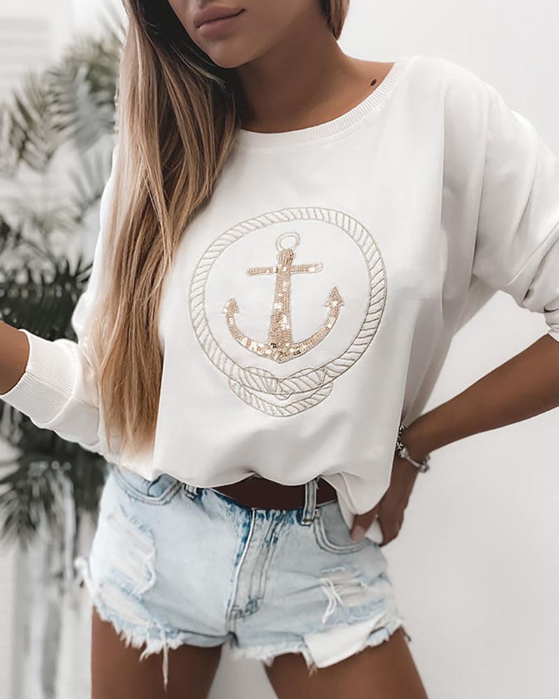 Boat Anchor Sequins Casual Sweatshirt