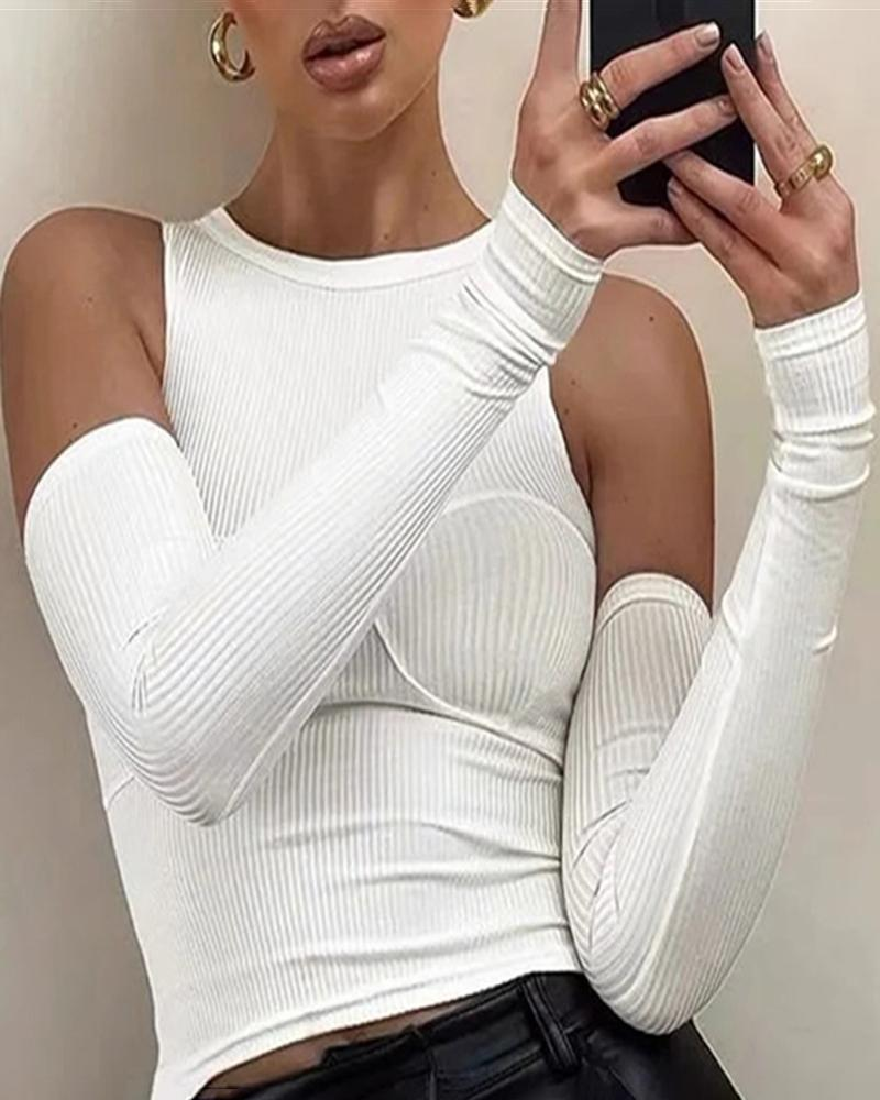 O Neck Sleeveless Skinny Top With Gloves