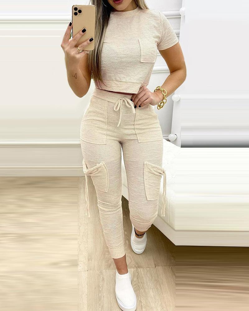 Pocket Design Top & Drawstring Pants Set
