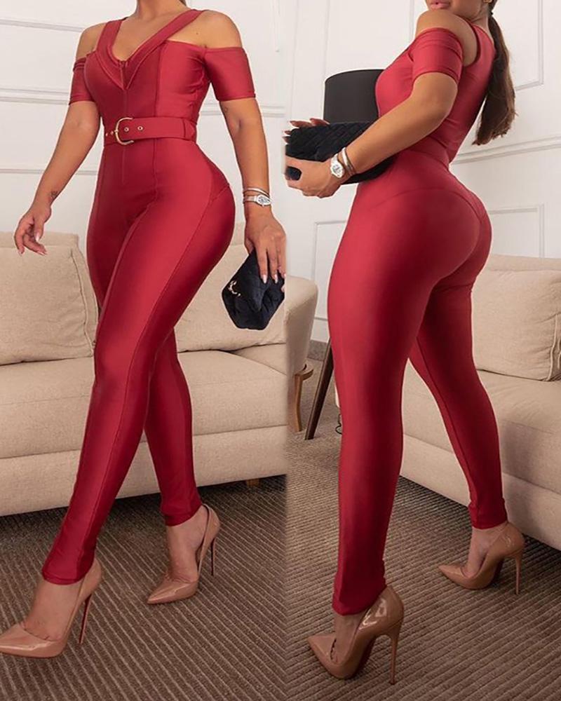Cold Shoulder Zipper Design Skinny Jumpsuit With Belt