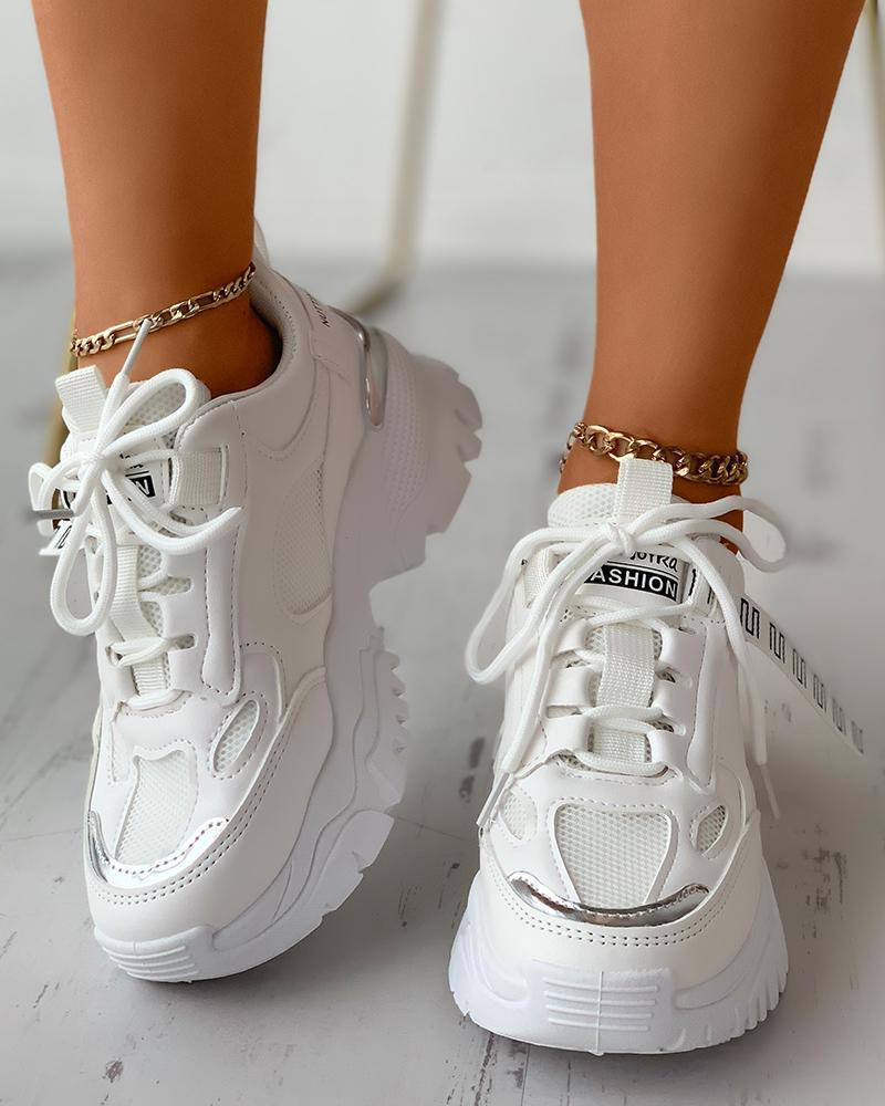 Lace-up Colorblock Breathable Casual Muffin Sneaker