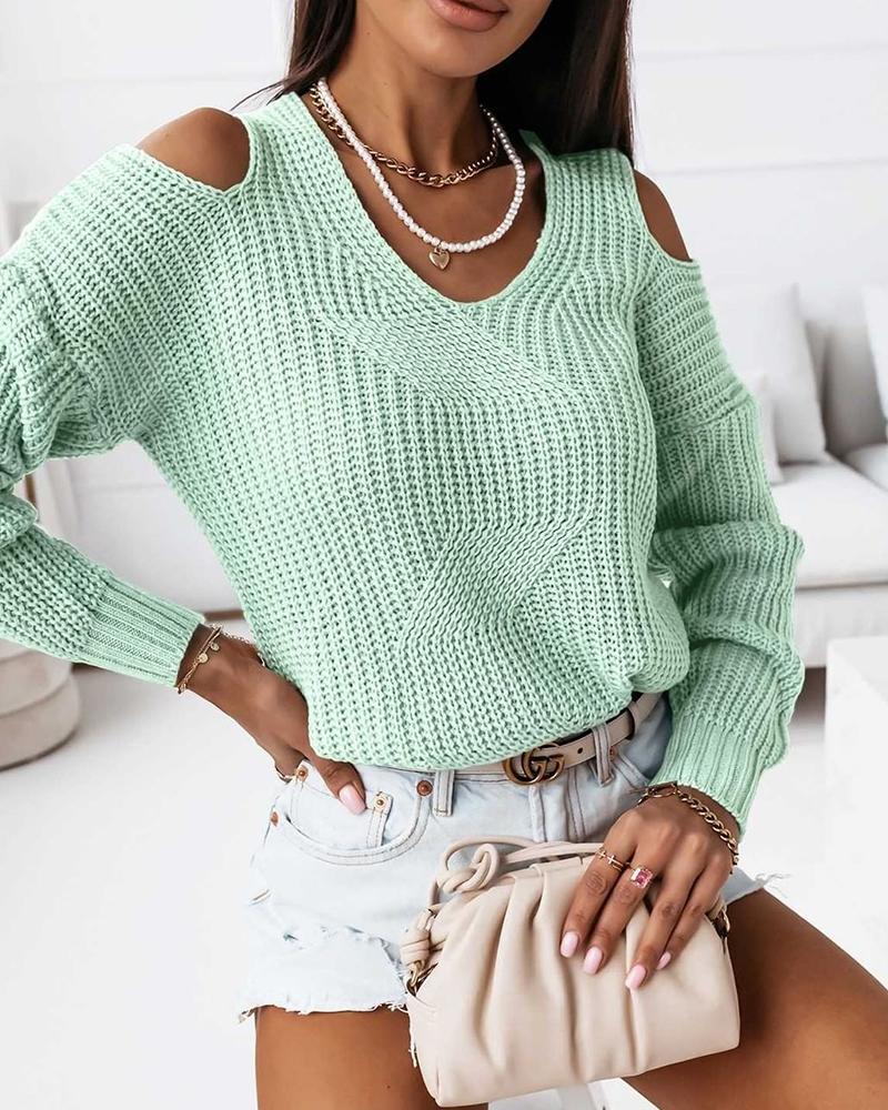 Solid Cold Shoulder Sweater