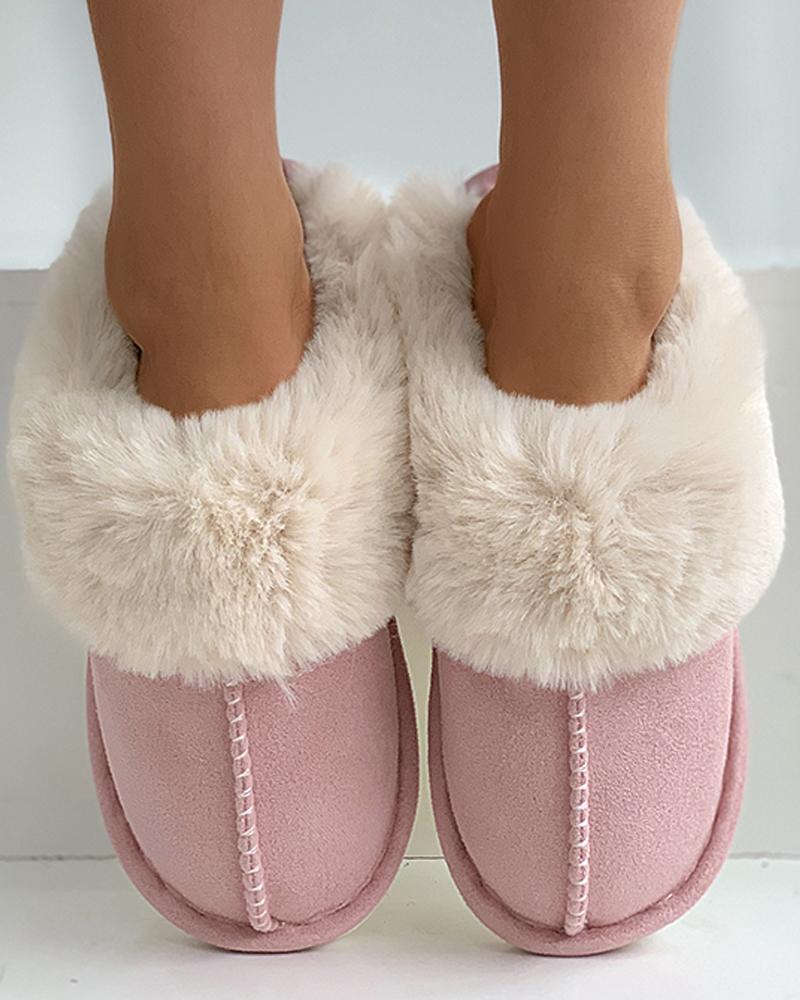 Stitch Detail Warm Slippers