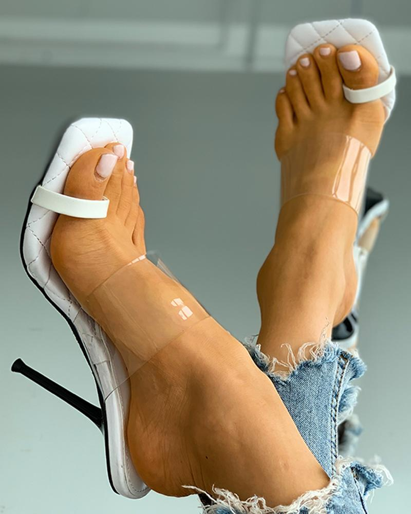 Quilted Toe Post Clear Strap Thin Heeled Sandals