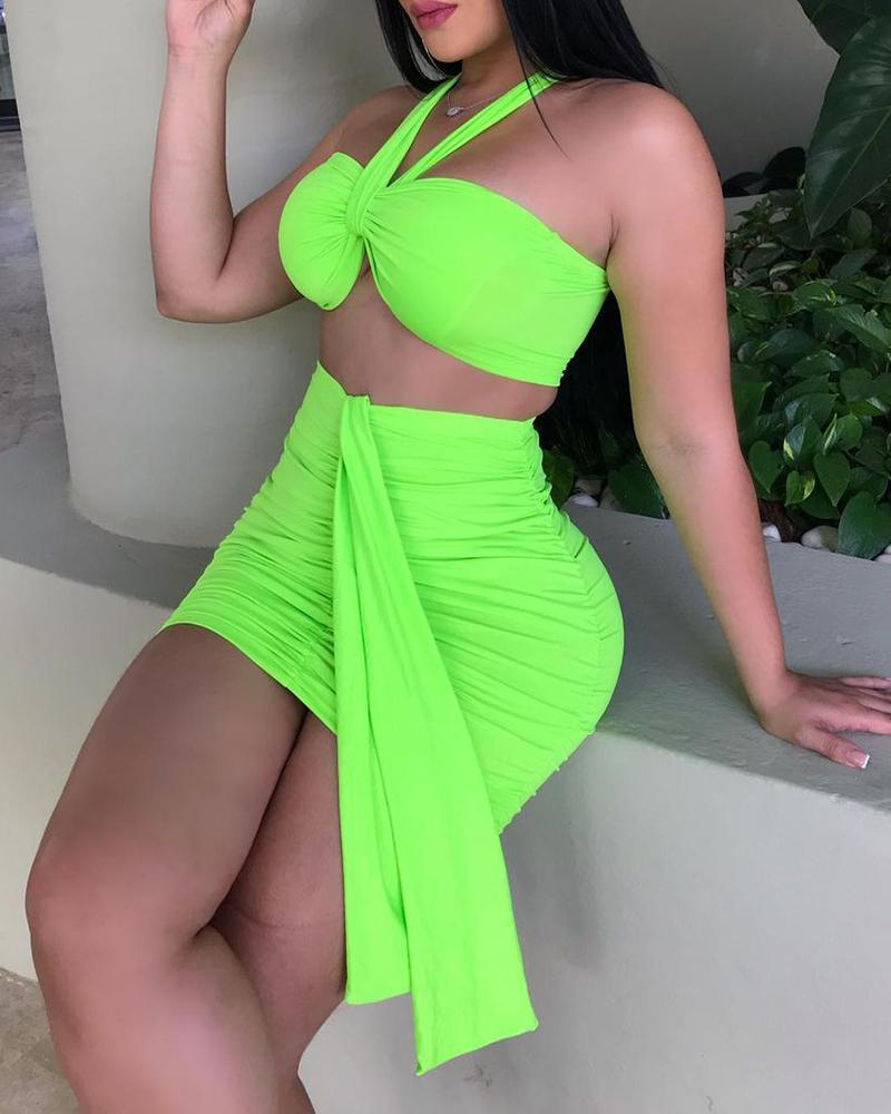 Halter Crop Top & Ruched Skirt Set