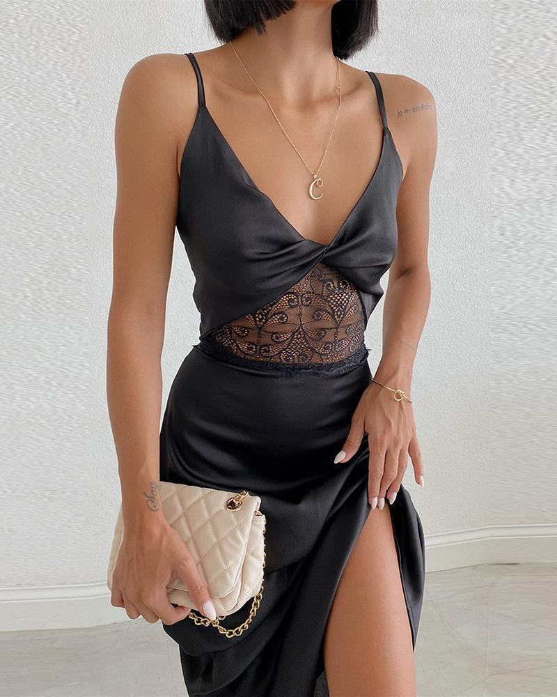 Crochet Lace Patch Twisted Backless Party Dress