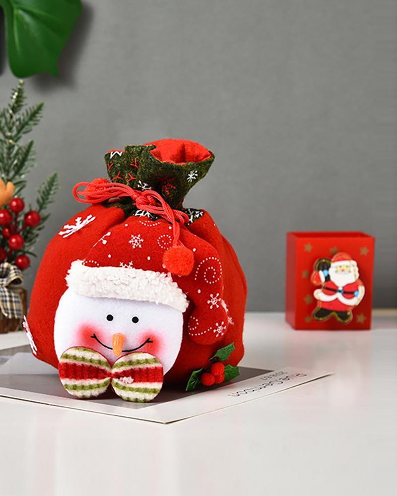 Christmas Pattern Pom Pom Decor Candy Bag