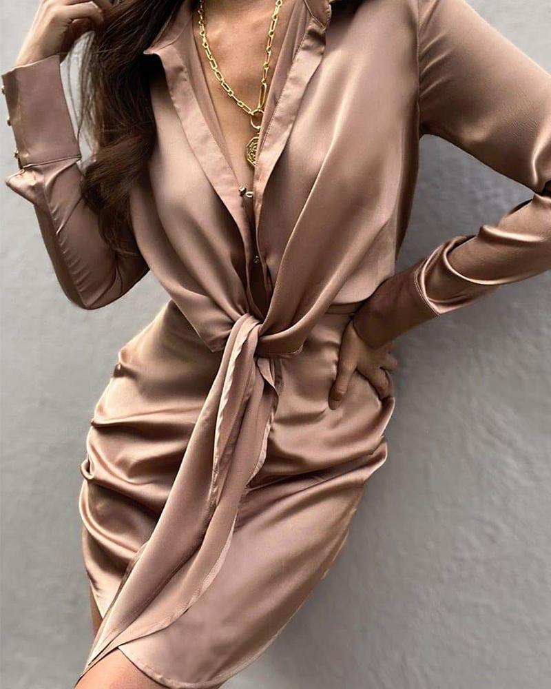 Satin Tie Front Long Sleeve Shirt Dress