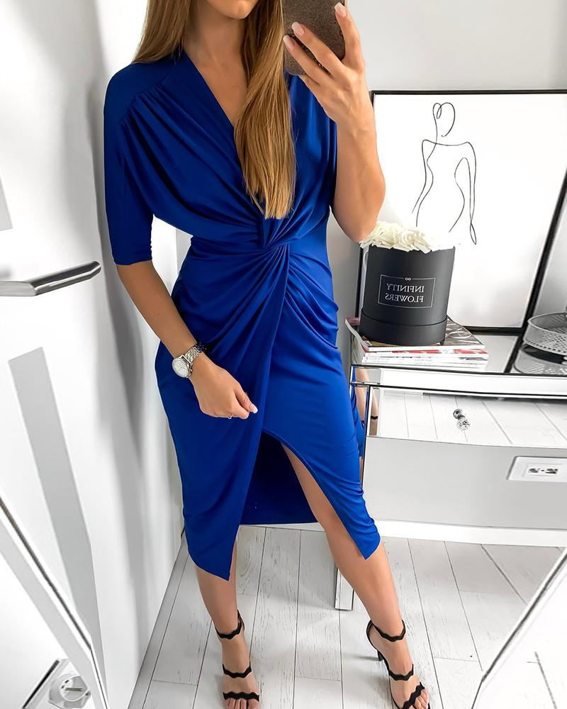 Twisted Slit Half Sleeve Work Dress