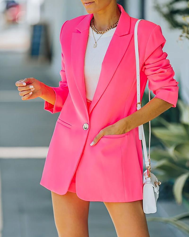 Long Sleeve Pocket Design Casual Blazer Coat