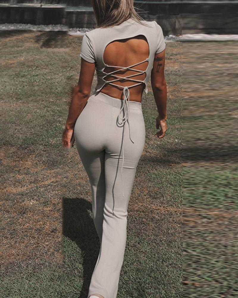 Backless Lace-up Crop Top & High Waist Skinny Pants Set