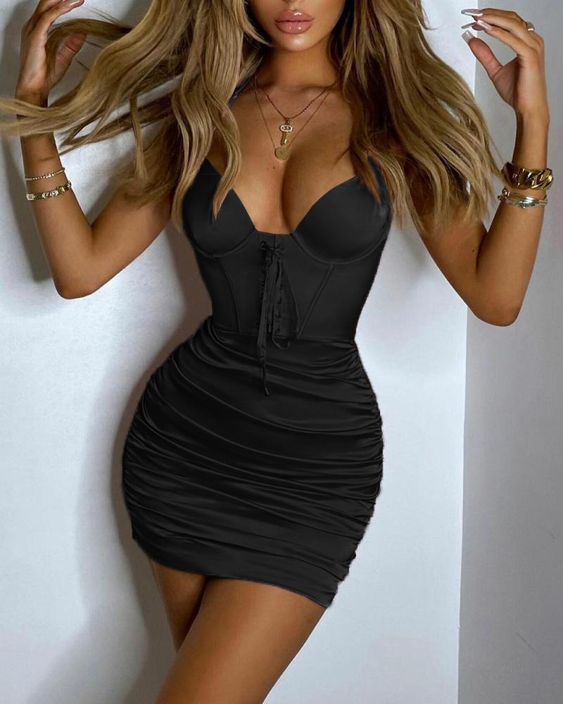 Grommet Eyelet Lace-Up Front Halter Ruched Bodycon Dress