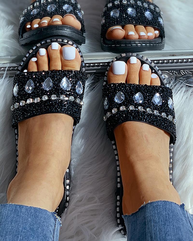 Studded Open Toe Flat Sandals