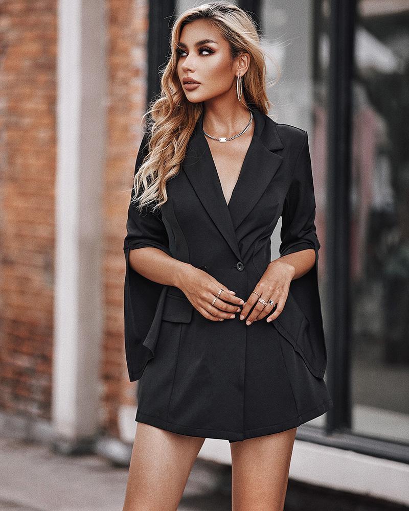 Vestido de trabajo blazer de manga larga con abertura con diseño de botones