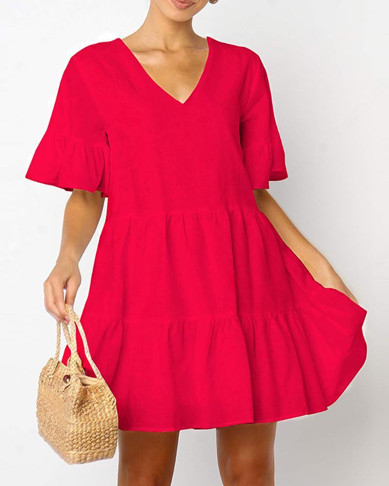 Ruffles Short Sleeve V-Neck Casual Dress, Red